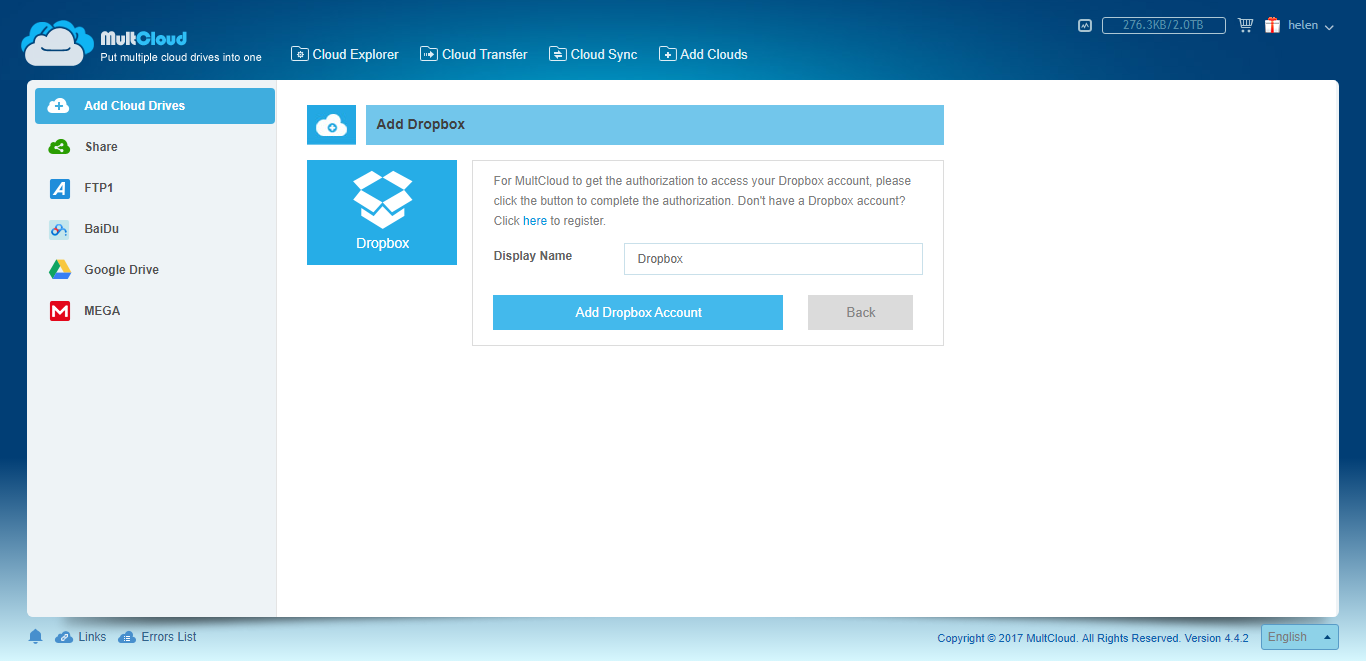 Add Dropbox Account