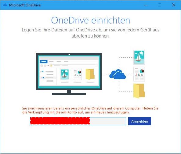 error message when adding second one drive account