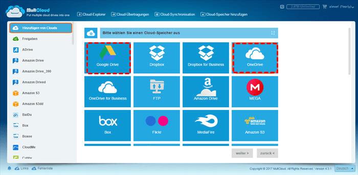 OneDrive- und Google Drive-Konto hinzufügen