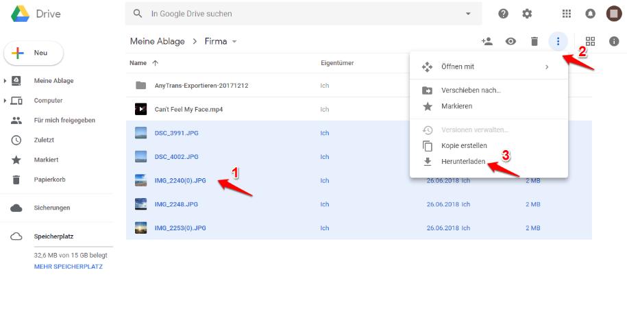 Google Drive Photos herunterladen