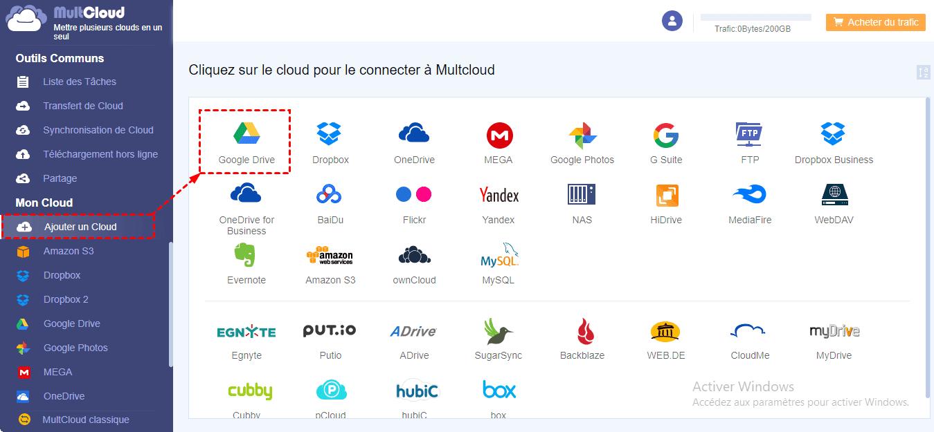 Ajouter des comptes Google Drive à MultCloud