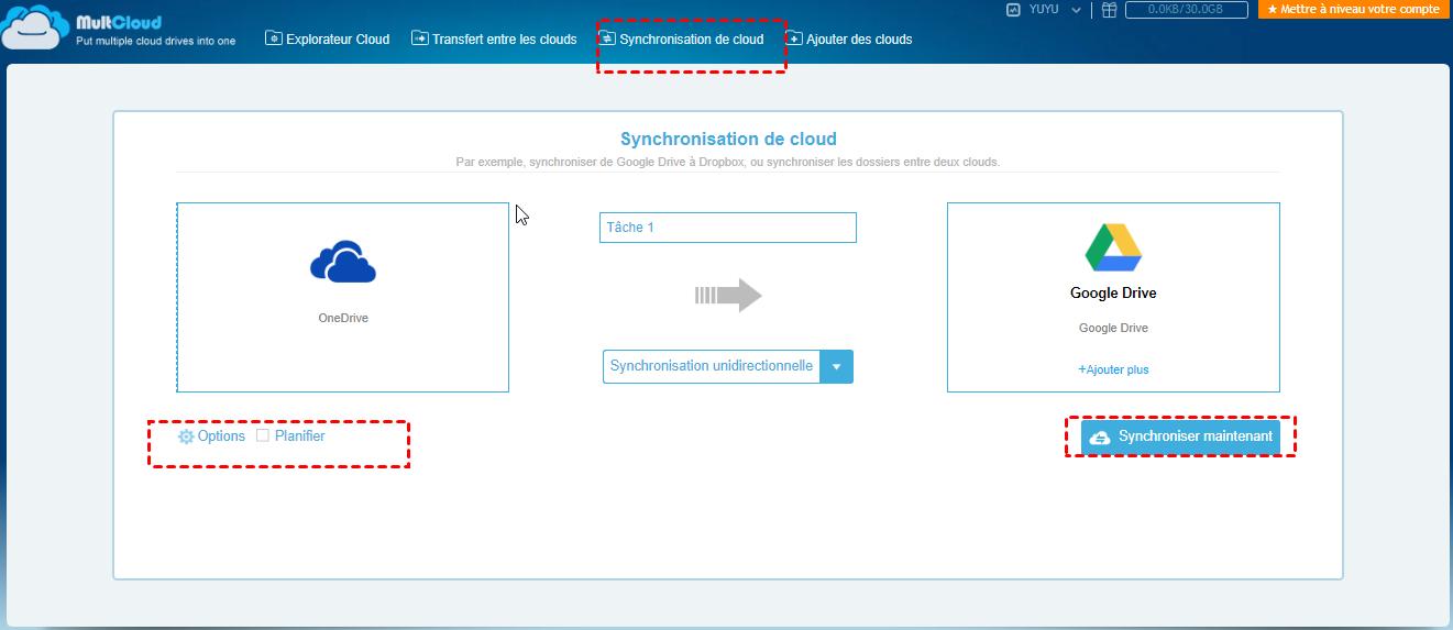 Synchroniser OneDrive vers Google Drive