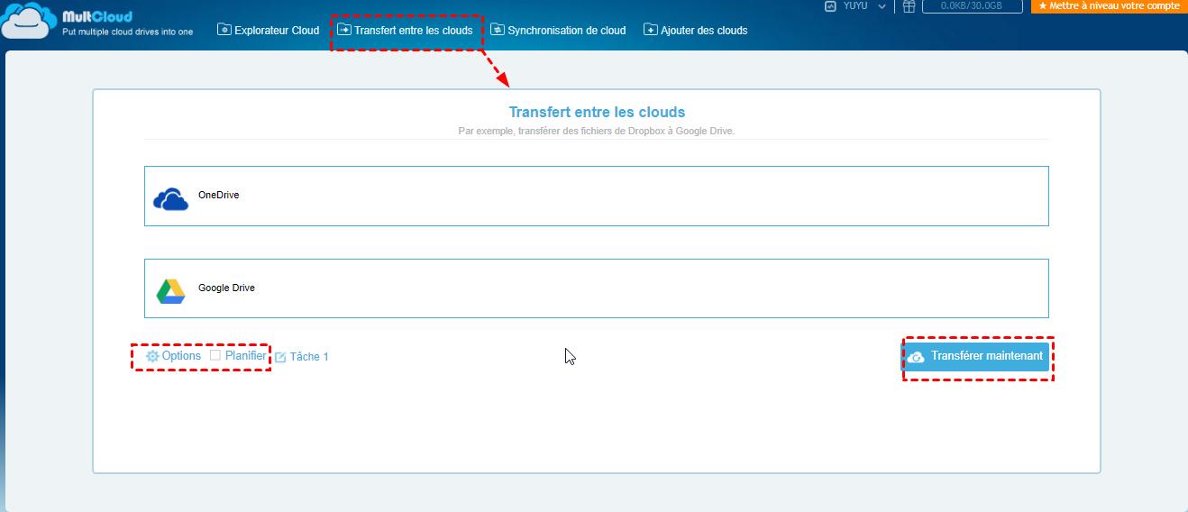 Transfert OneDrive vers Google Drive