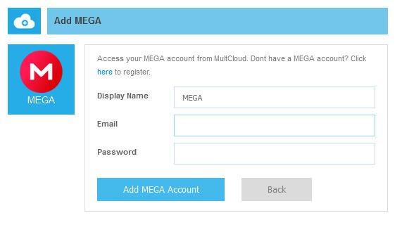 Ajouter un compte MEGA