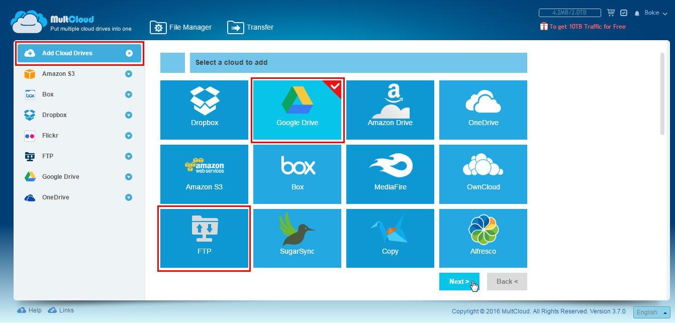 Ajouter les services cloud