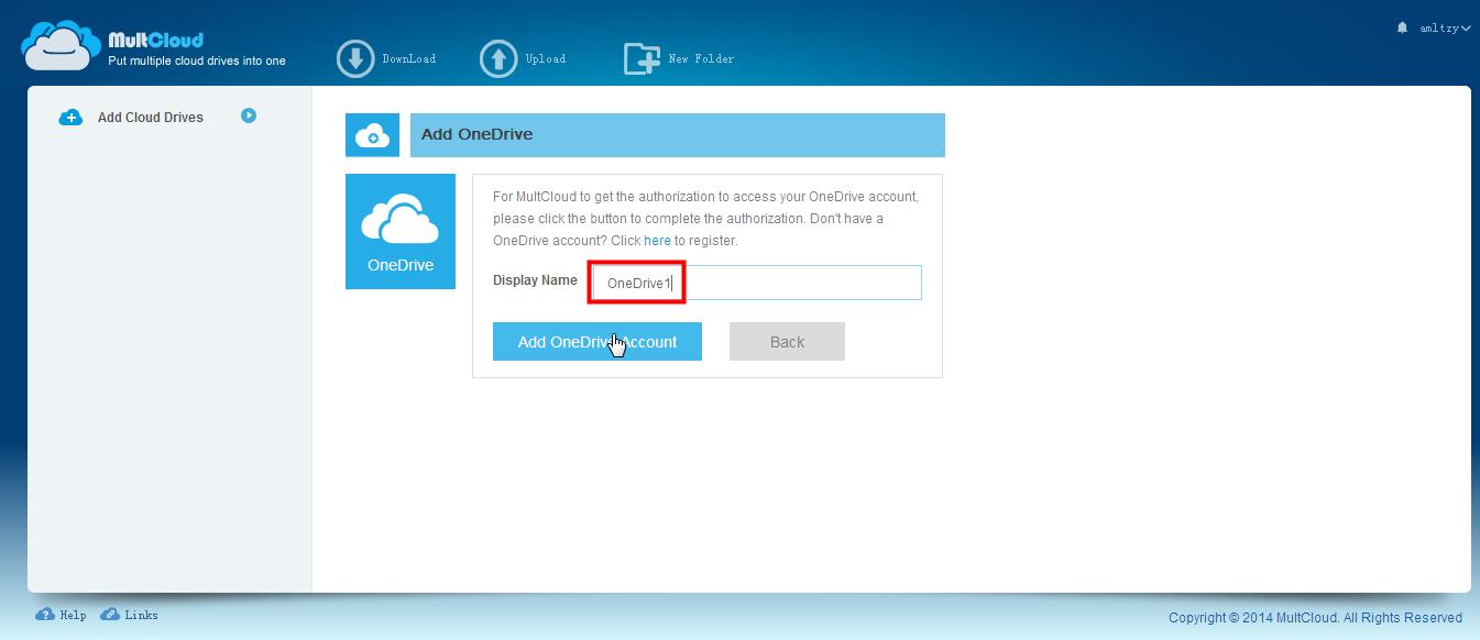 Ajouter le compte OneDrive Account