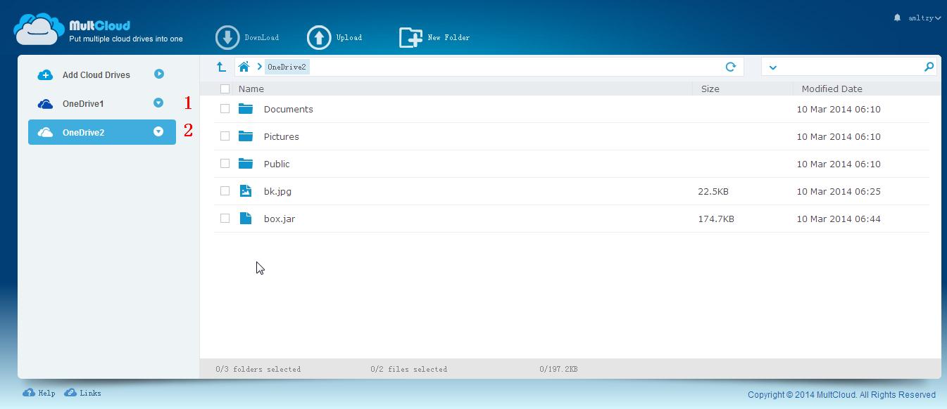 Deux comptes OneDrive ont été ajoutés dans MultCloud