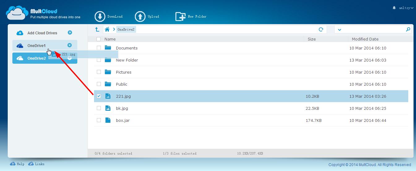 Le déplacement entre deux comptes OneDrive