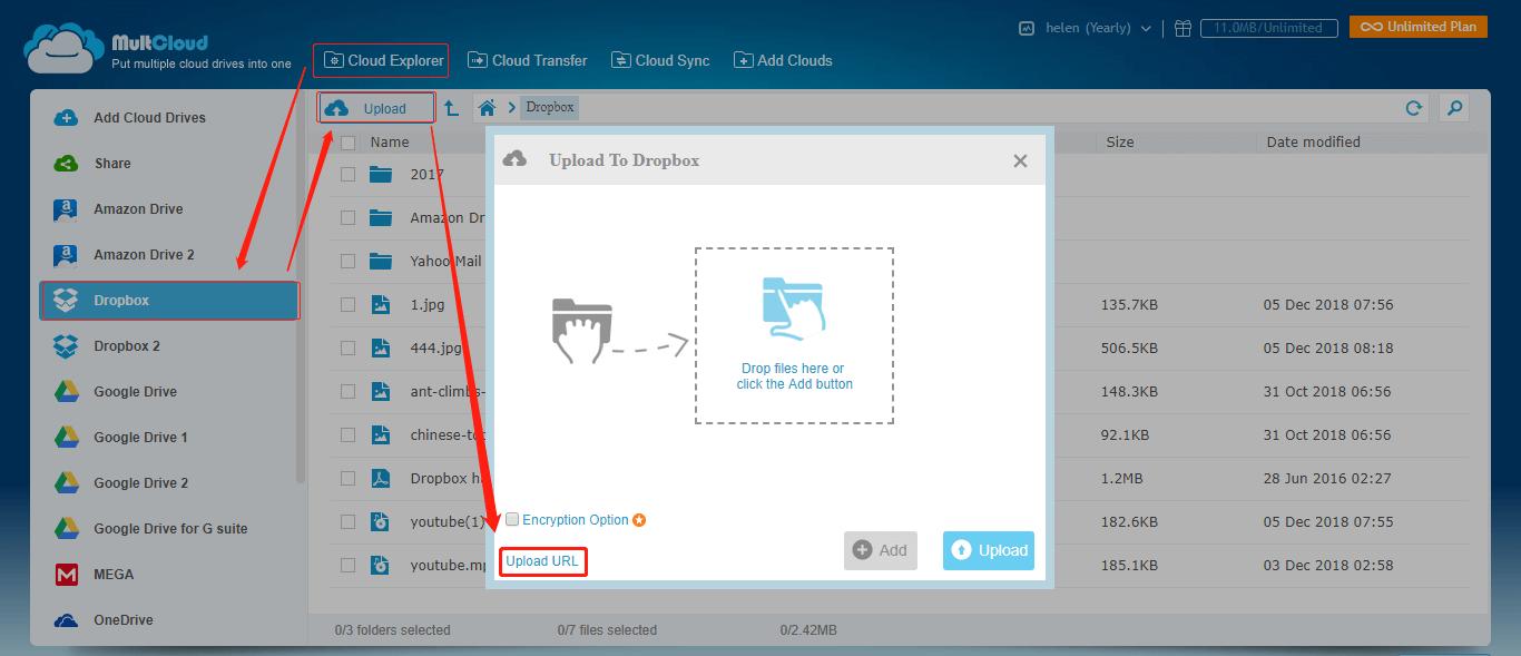 Dropbox Upload Link