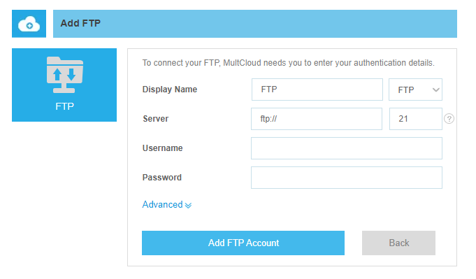 Upload Files to Google Drive via FTP | MultCloud
