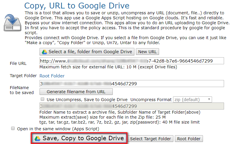 How to Upload to Google Drive from URL?