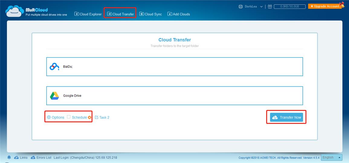 Baidu to Google Drive   MultCloud