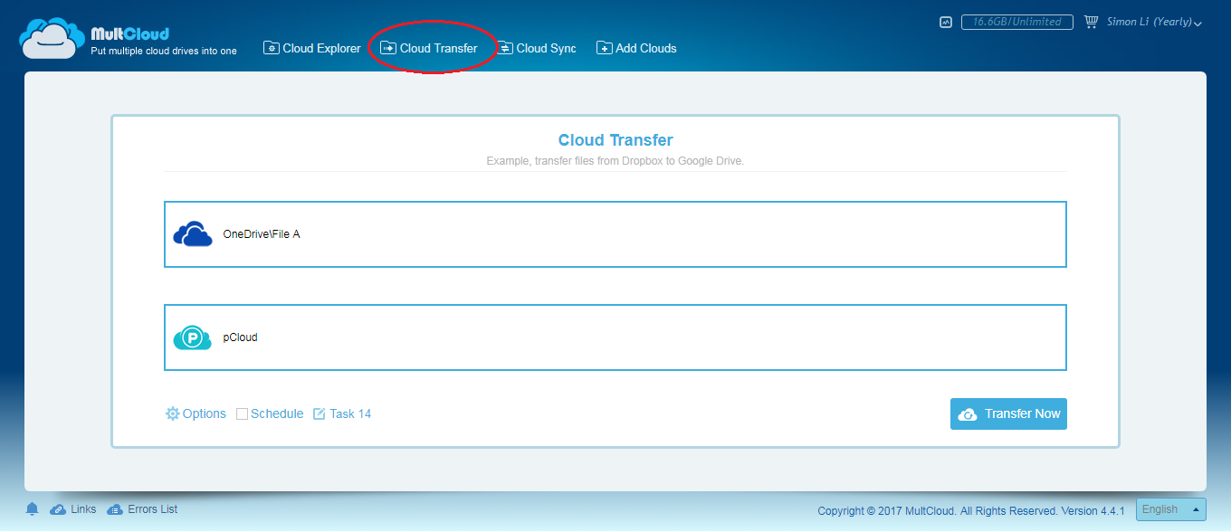 Migrate Files from OneDrive to pCloud
