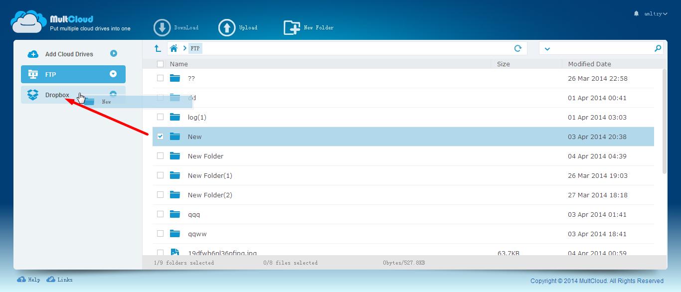 Move FTP to Dropbox, Google Drive, OneDrive, MEGA, Box, SugarSync, Amazon S3