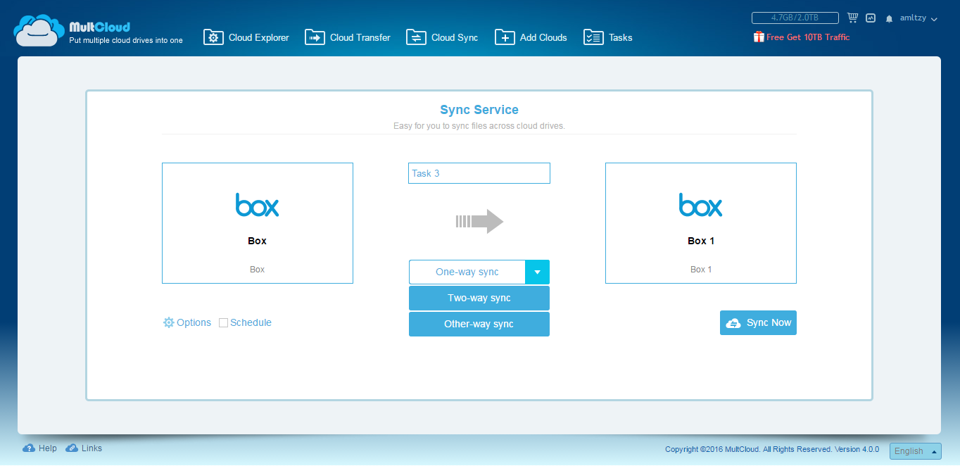 Use MultCloud to Sync Multiple Box Accounts on One Computer