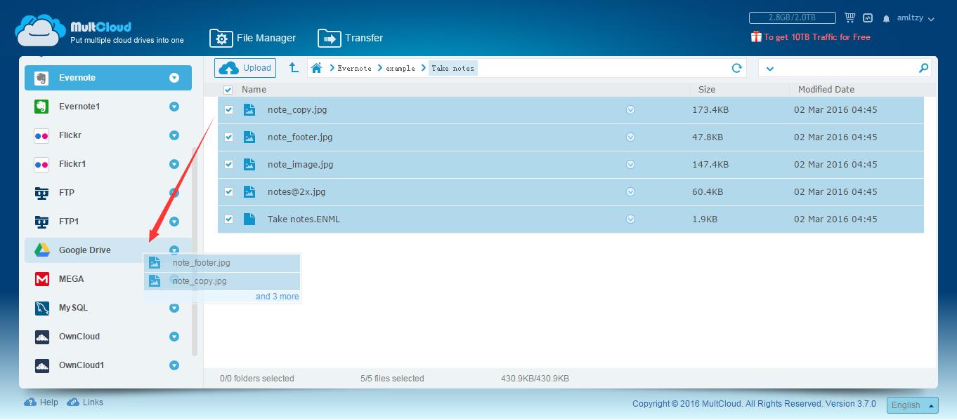Transfer Evernote to Google Drive, Dropbox, OneDrive, MEGA