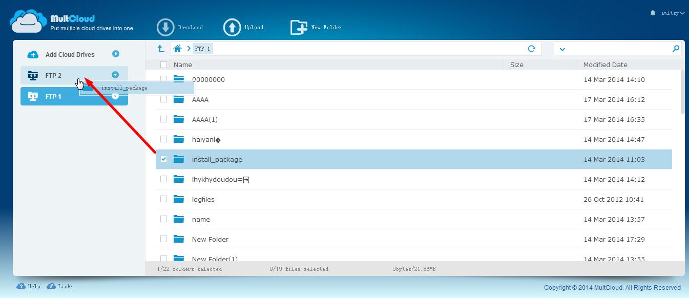 MultCloud Helps Transfer Files Between Two FTP Servers