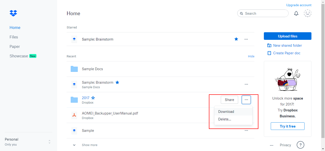 Transfer Files from Dropbox to omputer | MultCloud